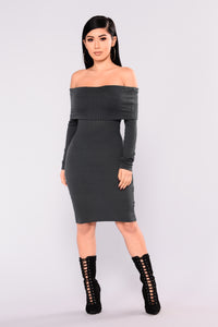 Beautiful Soul Ribbed Dress - Hunter Green