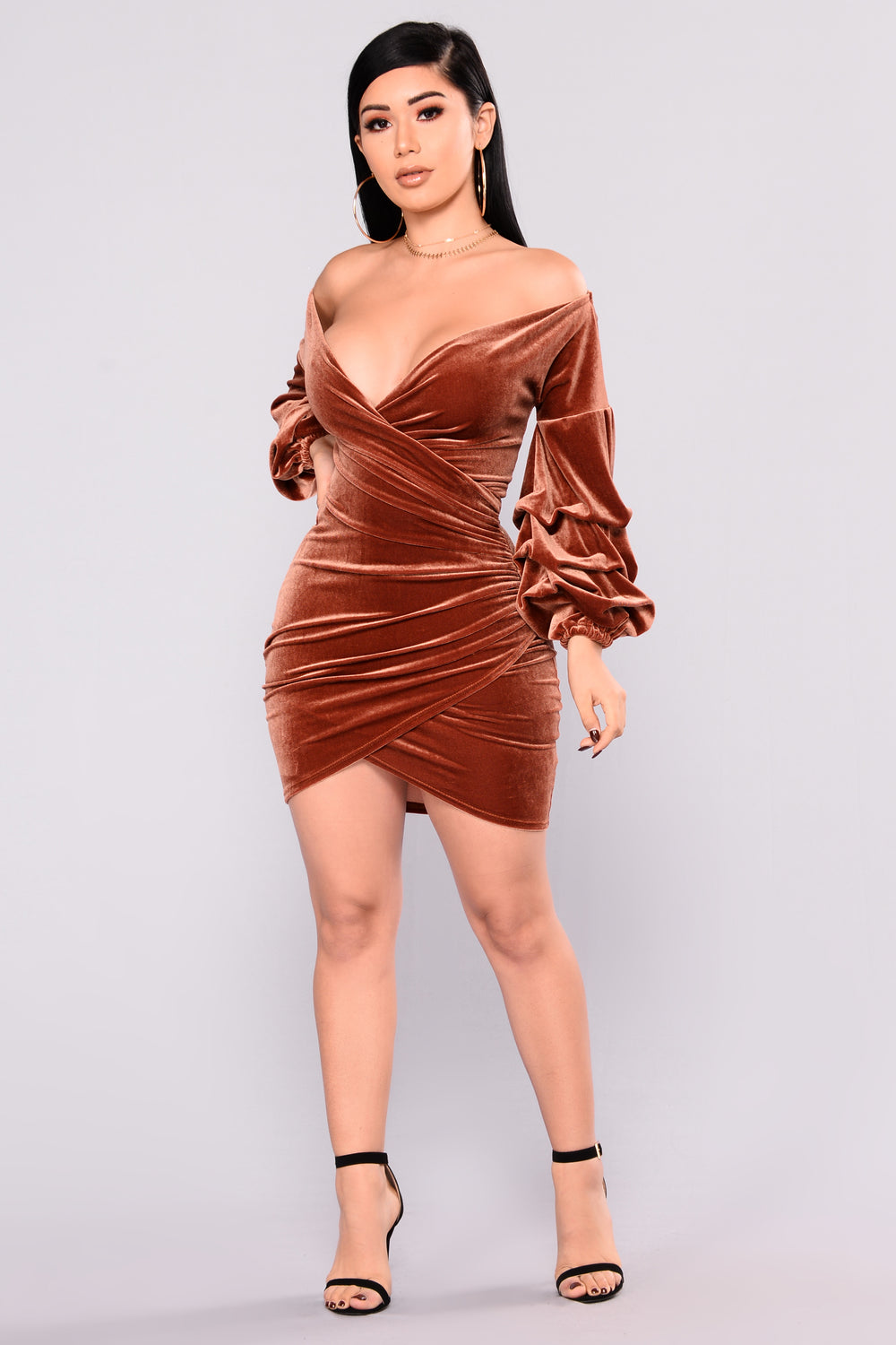 blair velvet dress  rust