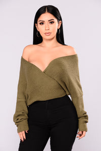 Lindsey Wrap Sweater - Olive