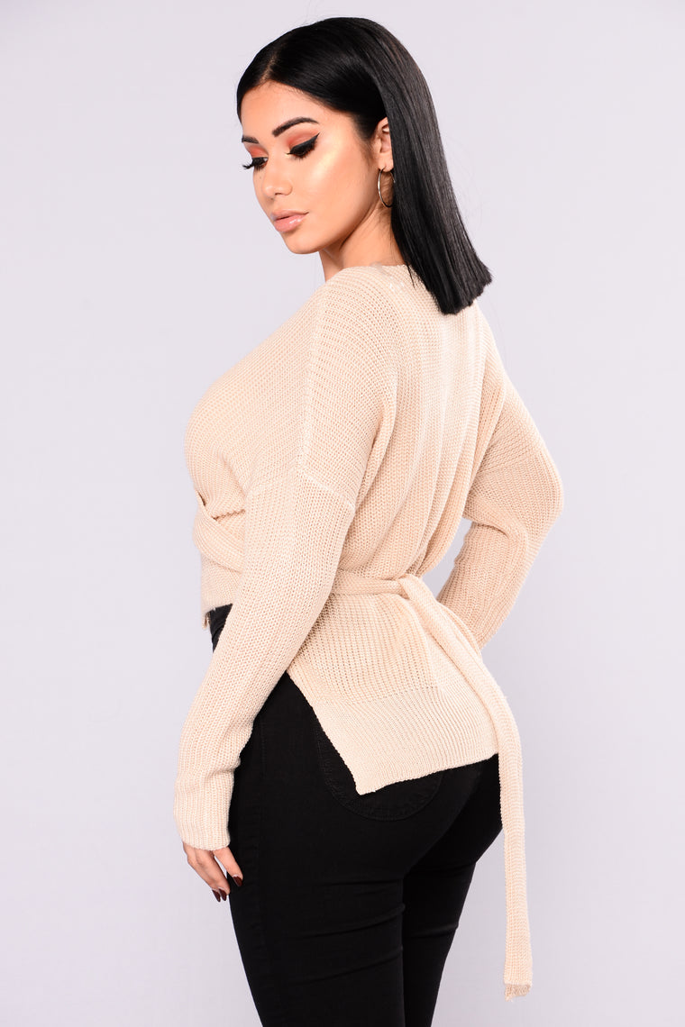 Bella Wrap V Sweater - Cream