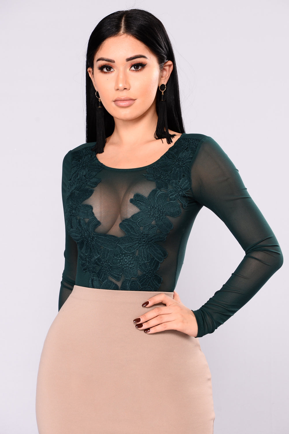 Livitha Crochet Bodysuit - Hunter Green