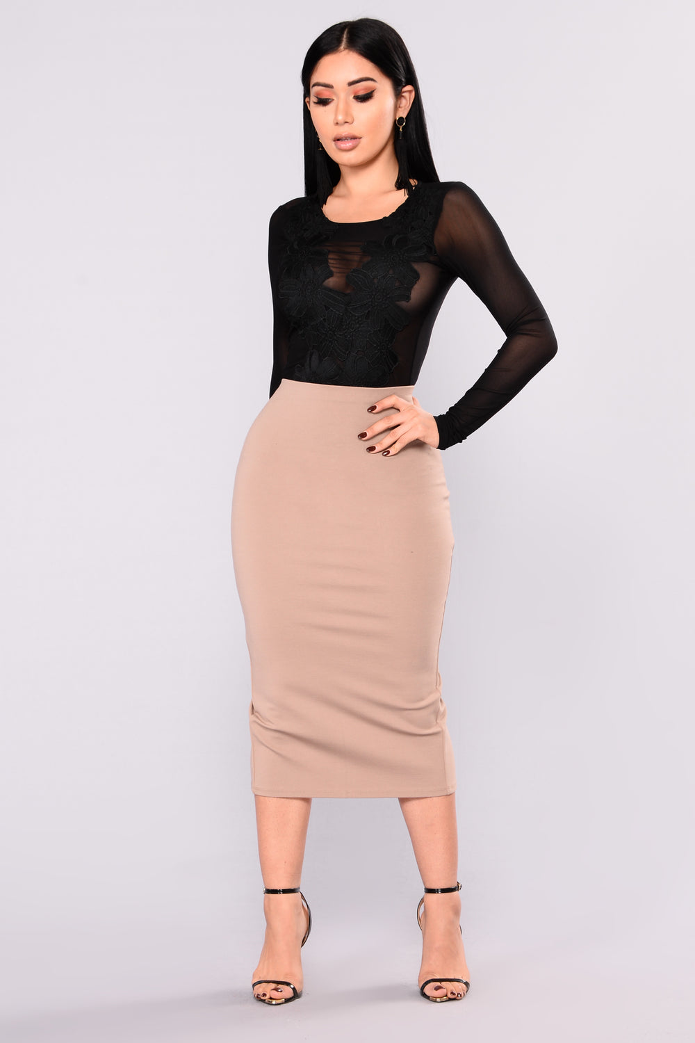 Quick Throw On Midi Skirt - Mocha