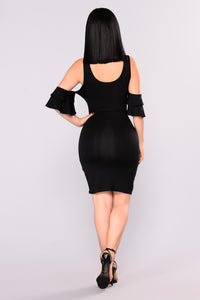 Valentina Ruffle Dress - Black