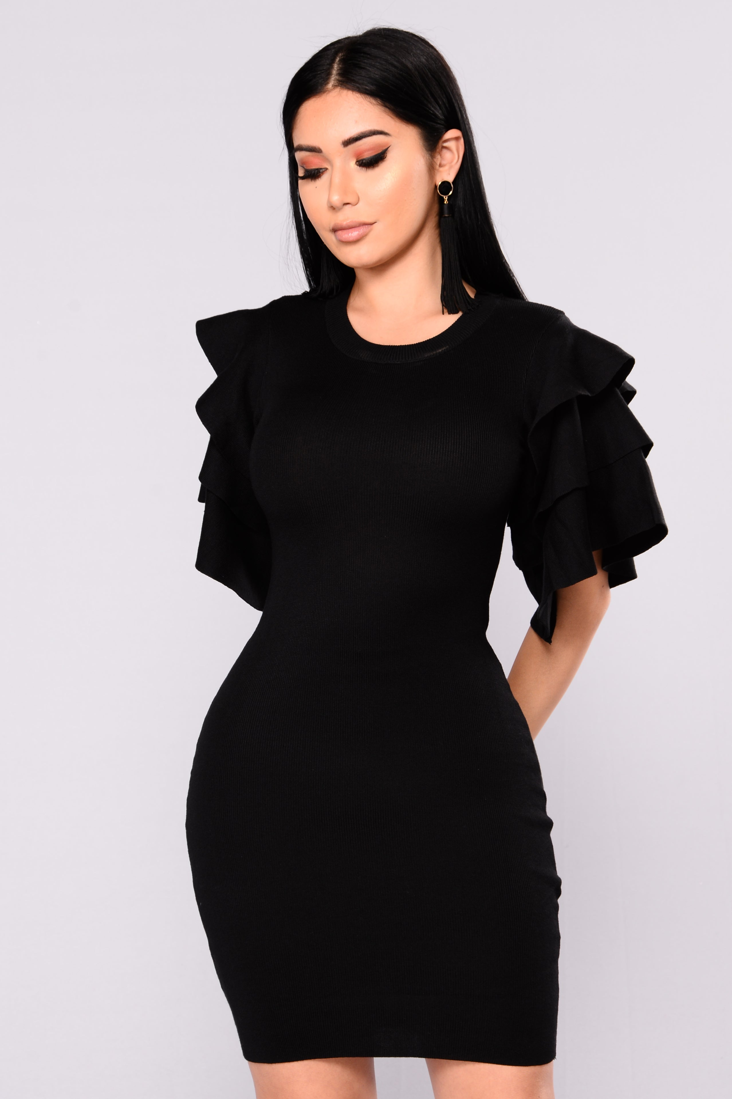 Fashion week Knit Black dress pictures for woman