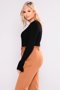 So Perfect Bell Sleeve Bodysuit - Black