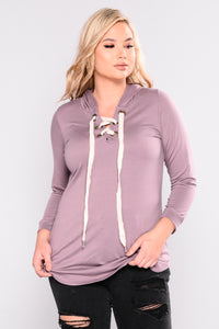 Charged Up Lace Up Tunic - Plum