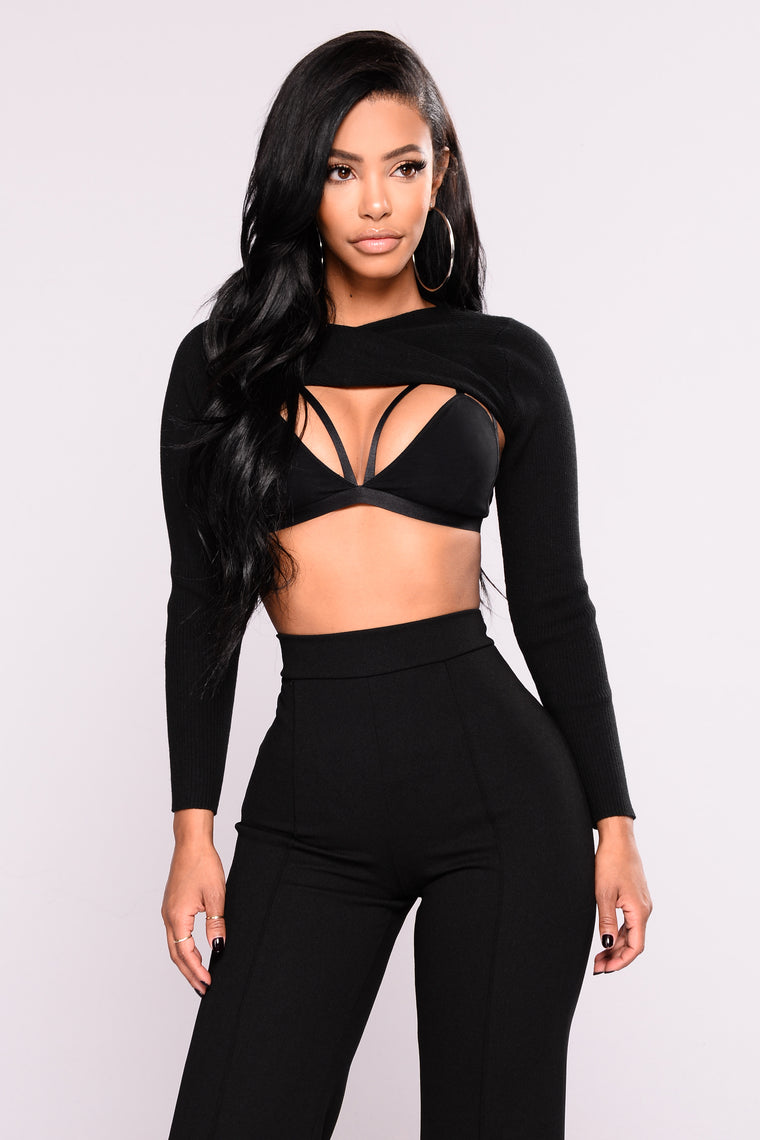 Criss Cross Into The Dark Crop Top - Black