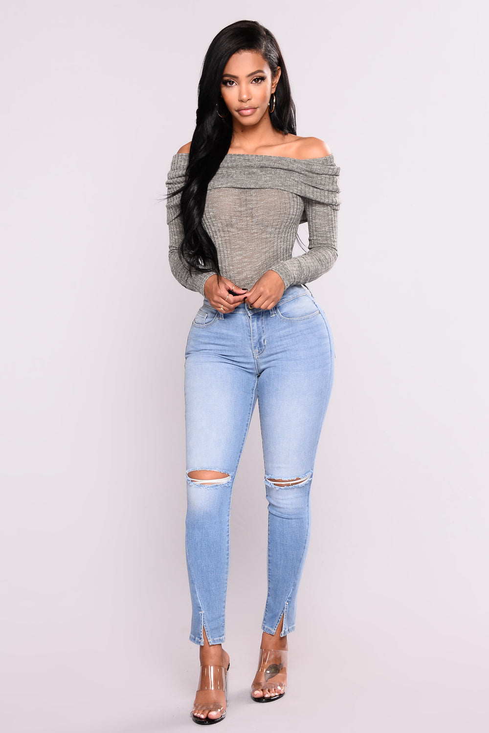 New Rules Off Shoulder Sweater - Olive