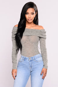New Rules Off Shoulder Sweater - Olive Angle 1