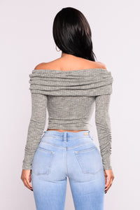 New Rules Off Shoulder Sweater - Olive Angle 4
