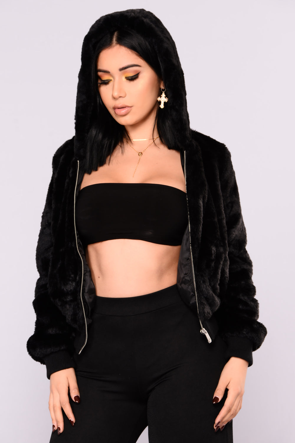 Snuggle Me Up Faux Fur Hoodie - Black