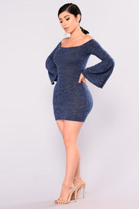 Cheyenne Off Shoulder Dress - Navy