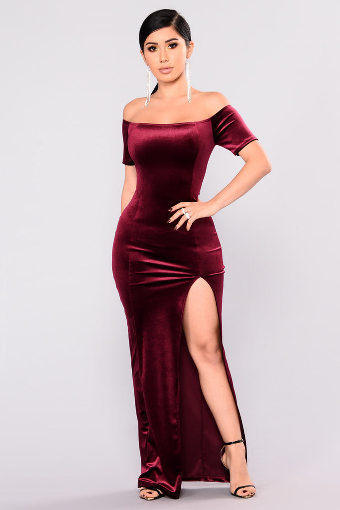 upgrade velvet dress  burgundy