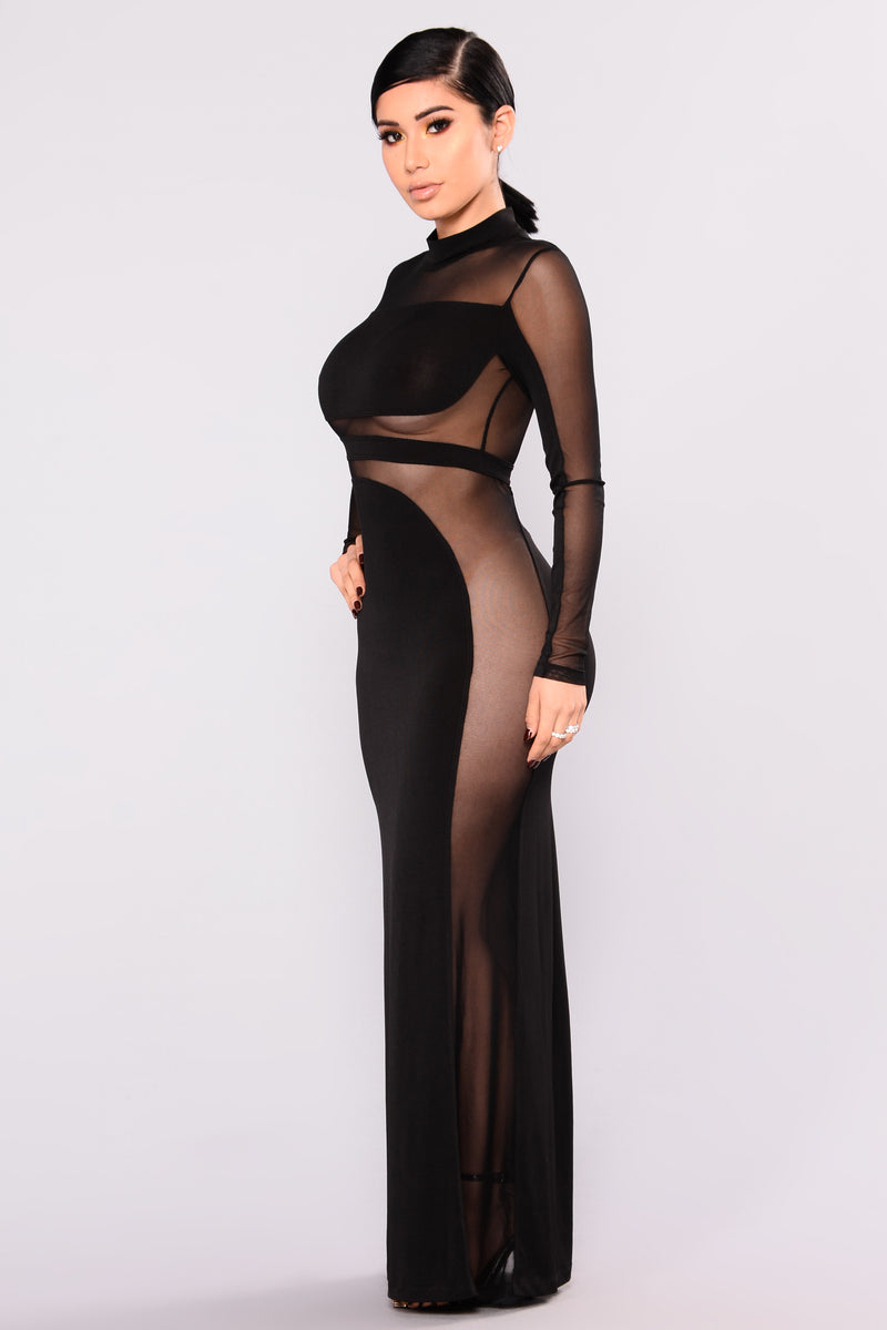 Venetian Mesh Cut Out Dress - Black