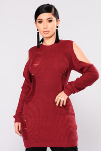 The Coldest Shoulder Sweater Dress - Burgundy