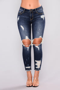 Brianda Distress Jeans - Dark Denim