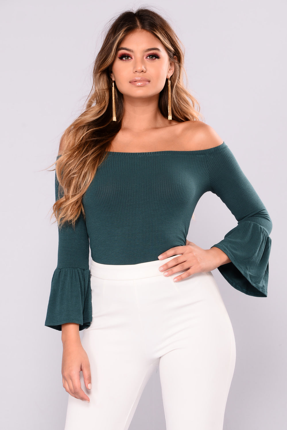 The Right Timing Bell Sleeve Top - Hunter Green