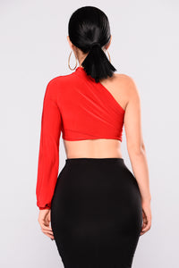 Keeyana One Shoulder Top - Red