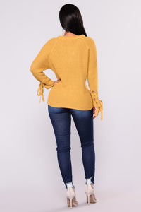 Let It Be Lace Up Sweater - Camel
