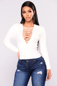 Show A Little More Lace Up Top - Off White