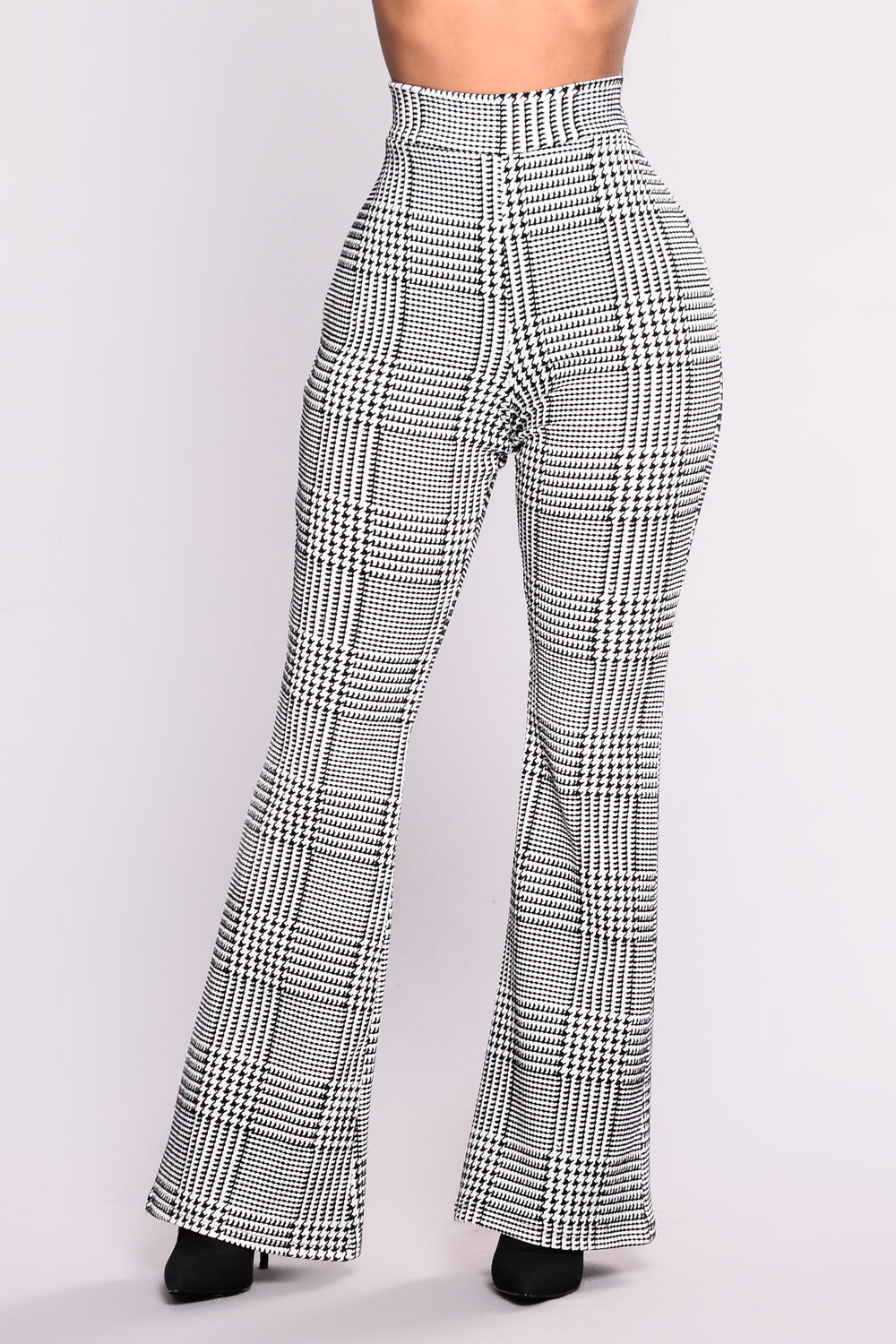 Houndstooth Wide Leg Trouser Pants - Black/White