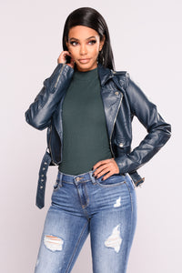 Remind Me Later Faux Leather Jacket - Teal