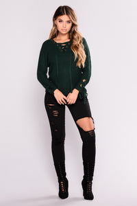 Let It Be Lace Up Sweater - Hunter Green