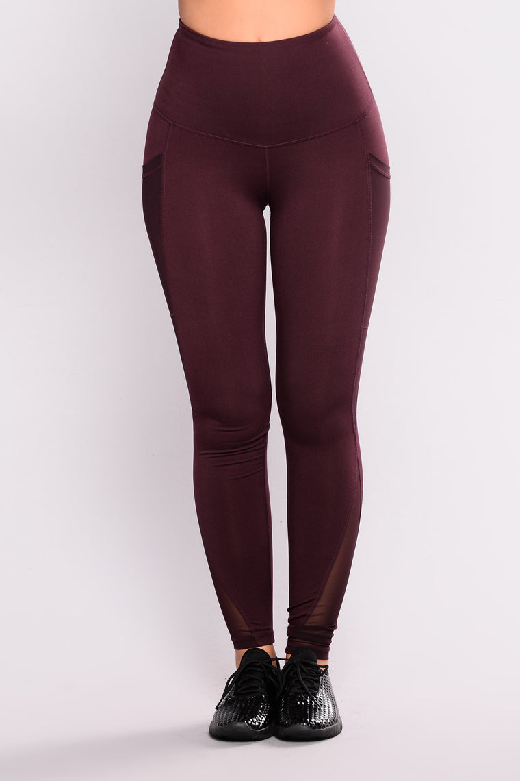 Cristina Active Leggings - Burgundy
