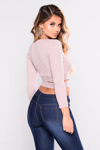 Adrian Wrap Around Crop Top - Mauve