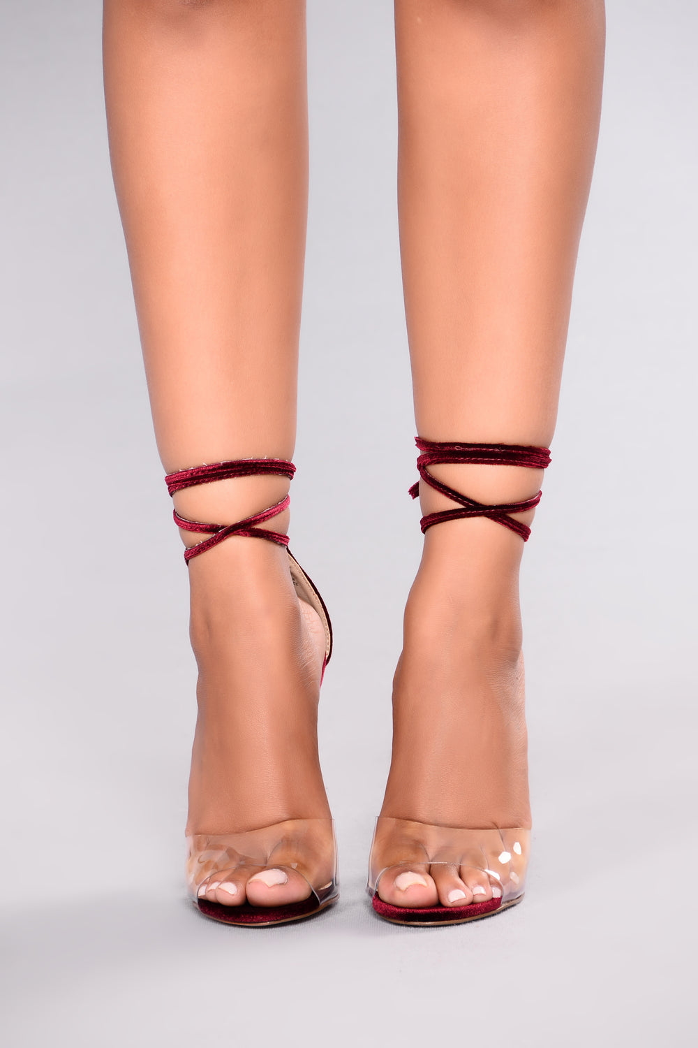 GiGi Clear Toe Heel - Wine