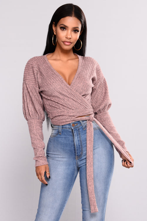 In Your Embrace Wrap Top - Mauve