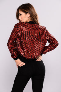 Sequin Queen Jacket - Burgundy