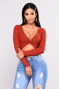 Shasha Top With Back Knot - Rust