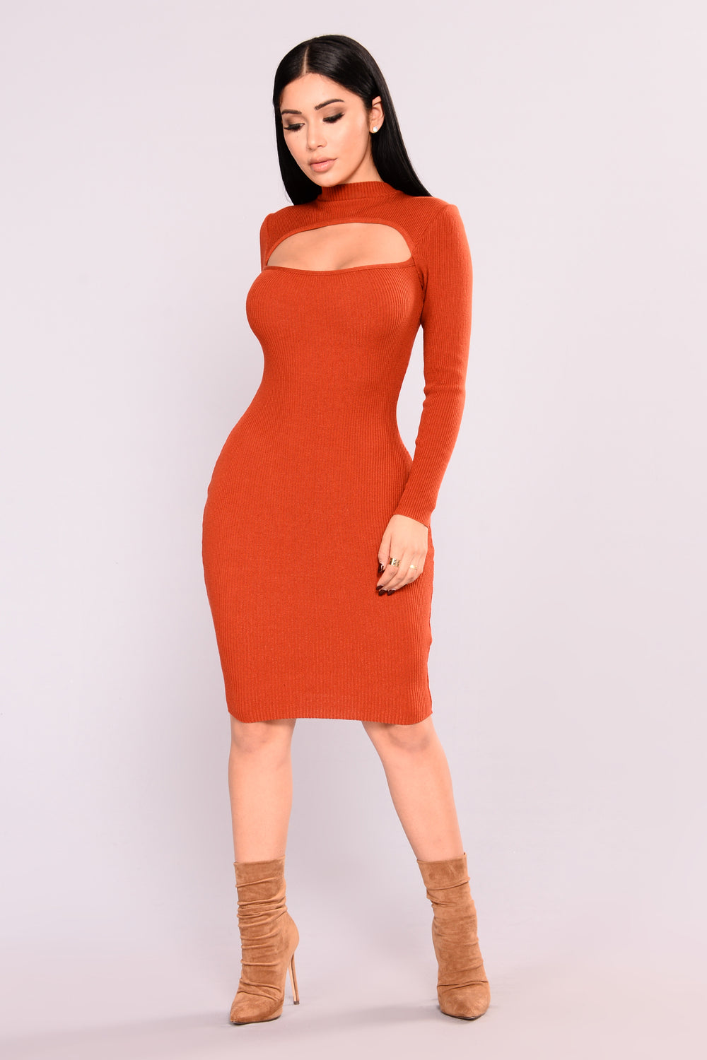 Blakely Knit Dress - Rust