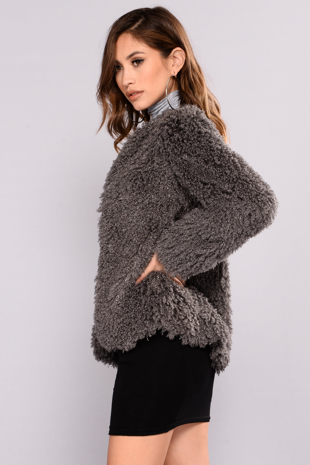 Cozy Lover Fuzzy Jacket - Grey