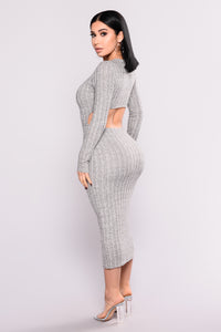 Sharice Ribbed Knit Dress - Heather Grey