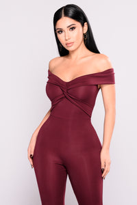 Twist and Take Jumpsuit - Burgundy