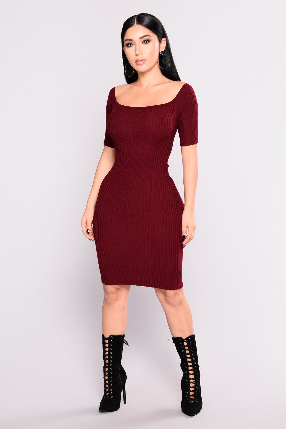 Payton Knit Dress - Burgundy