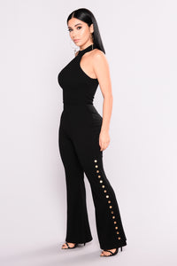 Snap And Go Wide Leg Jumpsuit - Black