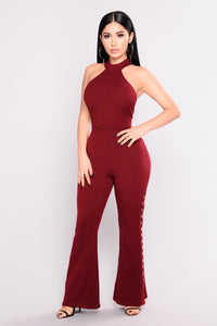 Snap And Go Wide Leg Jumpsuit - Burgundy