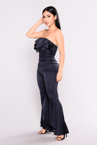 On A Whim Satin Jumpsuit - Navy