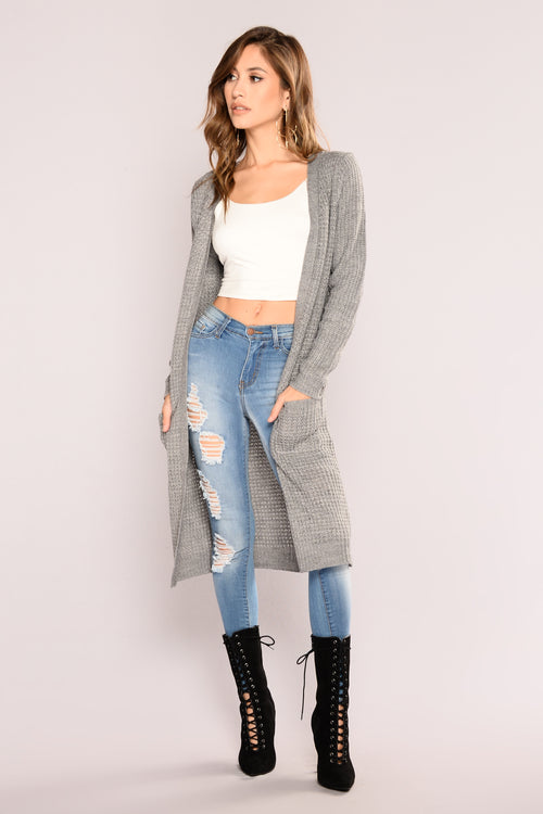 Abella Duster Sweater - Heather Grey