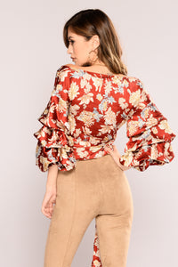 Classy Lady Satin Top - Rust Floral