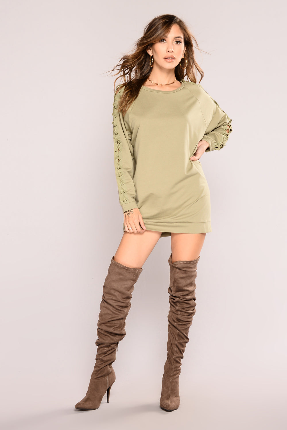 Lace You Up Tunic Sweater - Light Olive