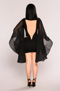 Layla Chiffon Cape Dress - Black