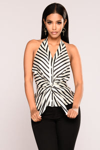 From The Heart Satin Top - White/Black