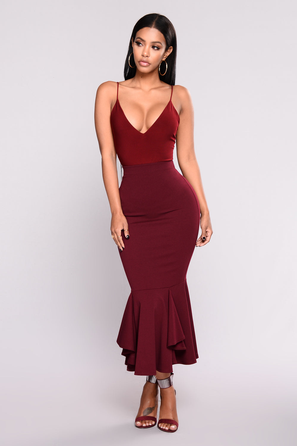Sleek And Slay Bodysuit - Burgundy