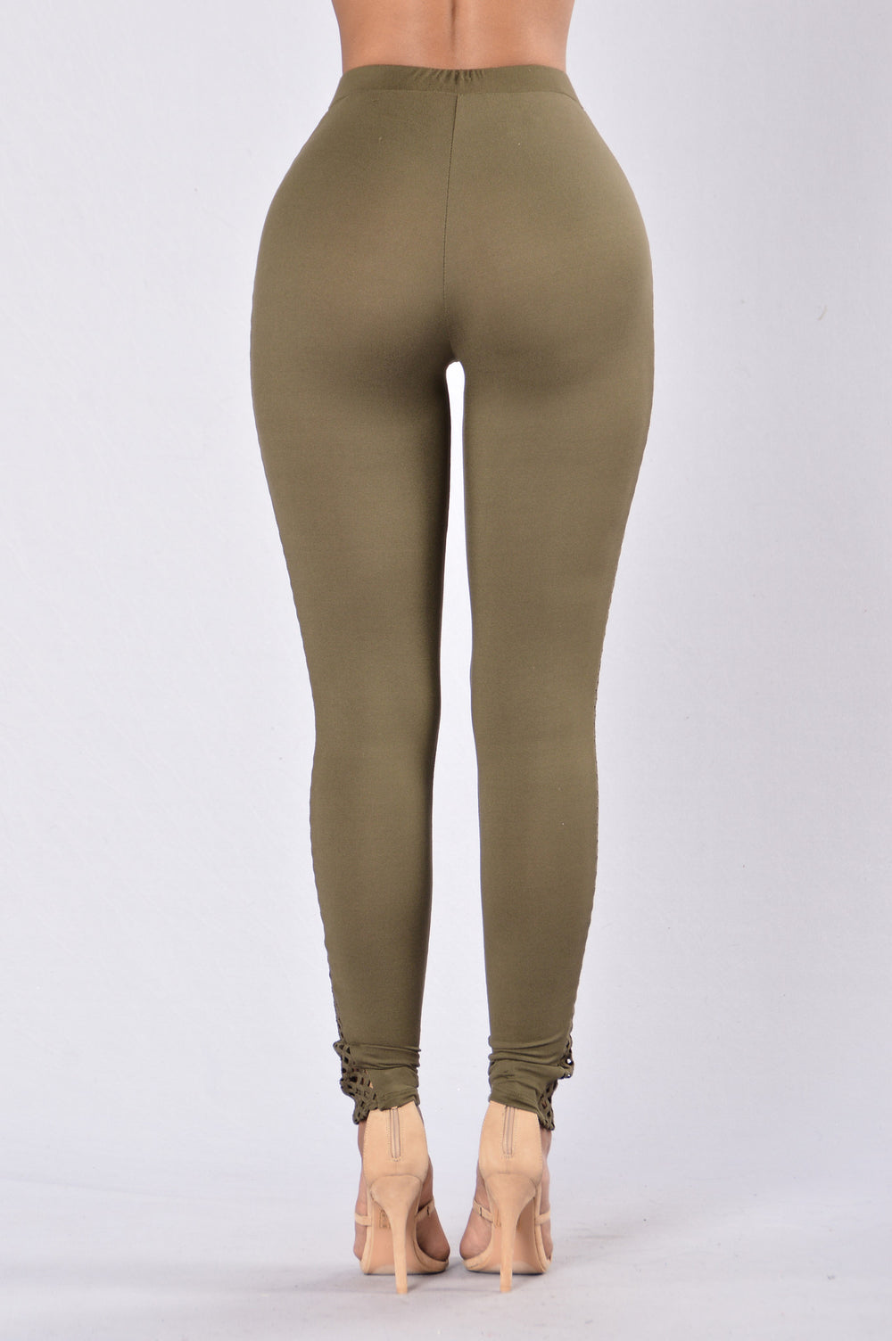 Side Peep Leggings - Olive