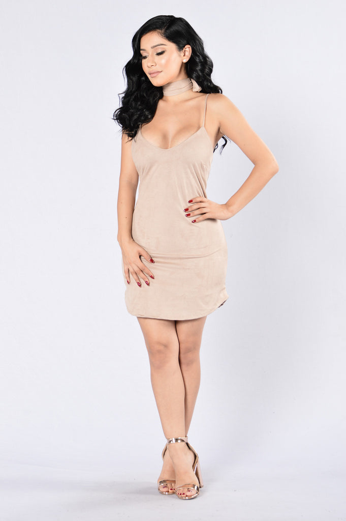 Slip Trip Dress - Camel