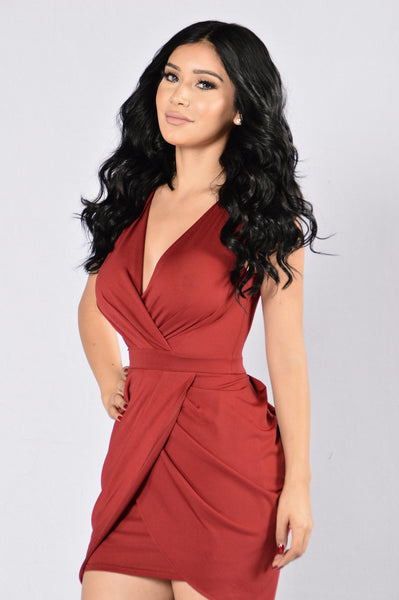 Paper Chase Dress - Burgundy